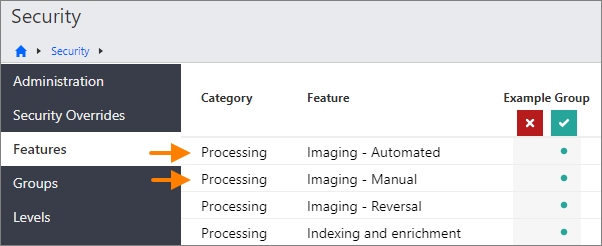 The Security - Features page, showing the Processing - Imaging - Automated and Processing - Imaging - Manual options.
