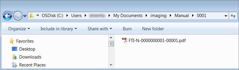 Windows Explorer window with the FTI-N-0000000001-00001.pdf file visible.