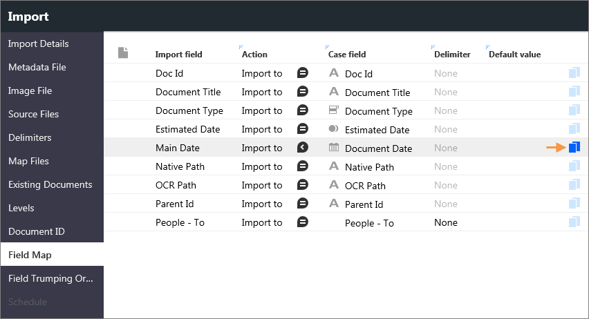Mapping a one-to-many field on the Field Map page in the Import window.
