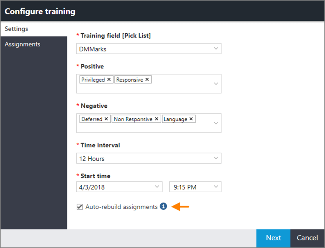 Auto-rebuild assignments check box in the CAL Configure training window