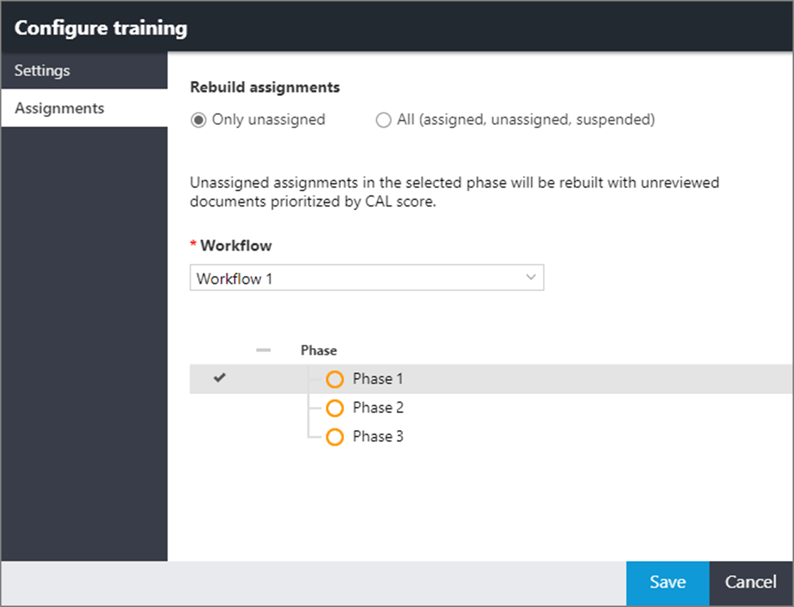 Assignments page in the CAL Configure training window