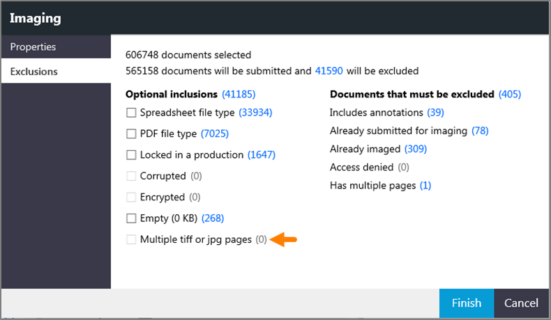 Imaging window showing the Multiple tiff or jpg pages check box.