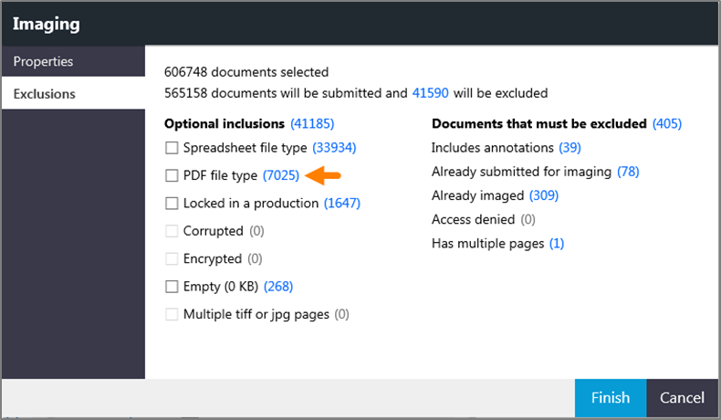 Imaging window showing the PDF file type check box.