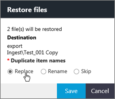Use the Restore files dialog box to restore files from an archive file repository.
