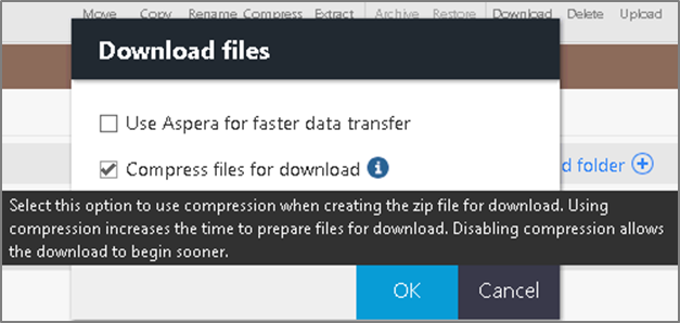 Download dialog box with new Compress files for download check box.